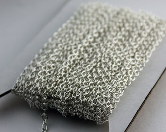 NEW New 32 ft of Silver Plated Round SOLDERED Cable Chain - 2.6x2.1mm SOLDERED Link