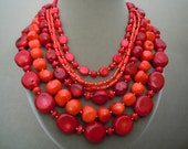 Salsa -- One of a Kind -- Red and Salmon Coral Multi Strand Statement necklace