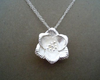 Baby Bud -- Sterling Silver Sculpted Flower Multi Strand necklace