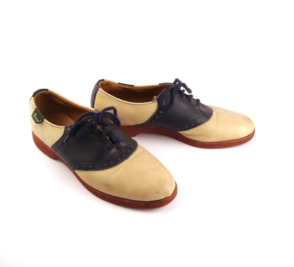 saddle oxford shoes leather vintage 1980s bass s