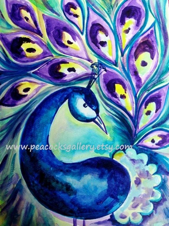 Items similar to Peacock Watercolor Painting Art Print ...