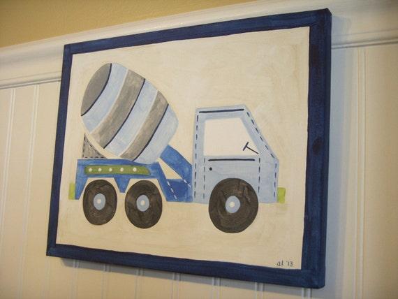 Construction truck Original canvas painting Baby boy nursery decor Children wall art Kids room 11 x 14 cement mixer Shower gift artwork blue
