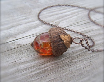 Mini Glass Acorn Necklace in Autumn Tones with attached Leaf by Bullseyebeads