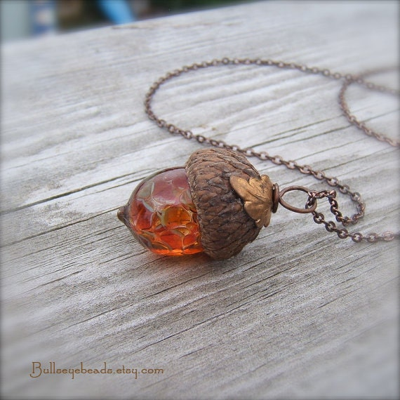 Mini Glass Acorn Necklace - Autumn Tones with Vintage Metal Leaf by Bullseyebeads