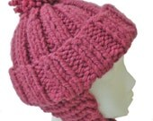 Hand Knit Hat in Raspberry Pink, Earflaps, Soft and Warm