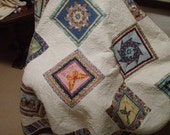 Queen or King Size Bed Quilt Patchwork Handmade Butterflies and Pinwheels