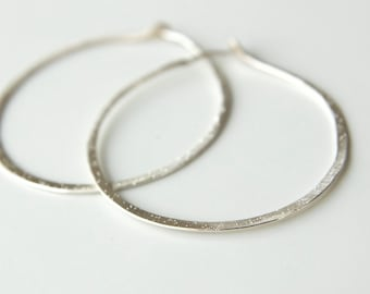 Sterling Silver Endless Hoops with Shimmer Texture - Sterling Silver Hoop Earrings - Shimmer Hoop Earrings - Recycled Eco Friendly Earrings