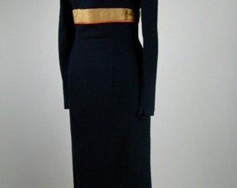 1950's Wiggle Dress Mid Century with Orange and Gold Satin Ribbon 100% Wool and Satin So MAd Men and Joan Hollaway