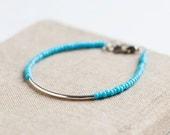 Friendship Bracelet - Blue - silver bar bracelet - Miyuki -  trendy bracelets - simple jewelry - cool bracelet - bohemian jewelry