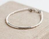 Friendship Bracelet - White - Silver Bar Bracelet with white seed beads - minimalist - dainty jewelry - dainty bracelet - delicate jewelry