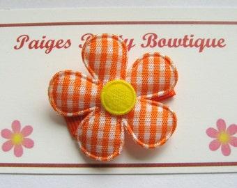 """1.5""""  Orange/White Gingham Flower Snap Clip-Baby Hair Clip-Toddler Hair Clip-Fine Hair Clip"""