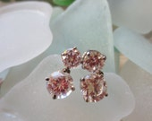 Vintage Earrings Silver Cubic Zircons Post Clutch Dangles