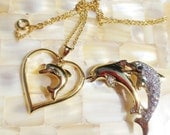 Vintage Necklace Dolphin Heart Rhinestone Gold Brooch - BlancheB