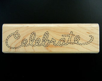 SALE   Stampendous Stitched Celebrate Wood Mount Rubber Stamp