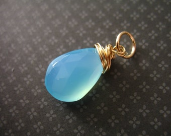 Shop Sale..  CHALCEDONY Charm Pendant Add a Dangle Drop, 20-22 mm, 14k Gold Filled Wire Wrapped, brides bridal gemdone fdv1.v3 gd solo