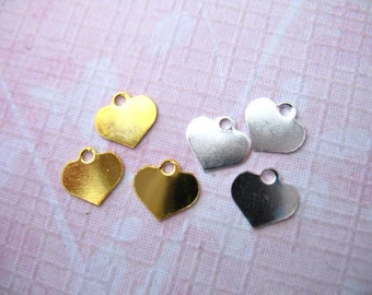 Shop Sale.. 50 pcs, HEART Blanks Discs Charms Sequins Bulk, 7x7 mm, Plated Brass, custom personalize stamping wholesale. blankheart