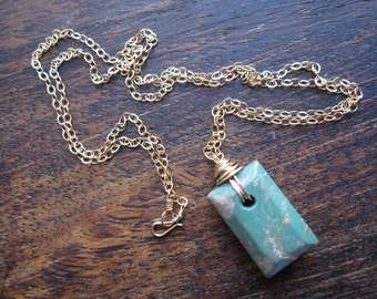 Gold and Green: Turquoise and Gold-filled Wire Wrapped Chain Necklace