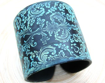 SALE Cuff Bracelet Black, Damask in Citron Green and Turquoise Patina by theshagbag on Etsy