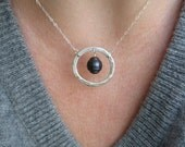 Small hammered Circle  with hanging pearl - necklace - copper, bronze or sterling