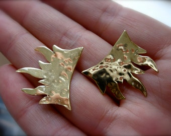 Tiny Flame post earrings in copper or bronze on sterling posts