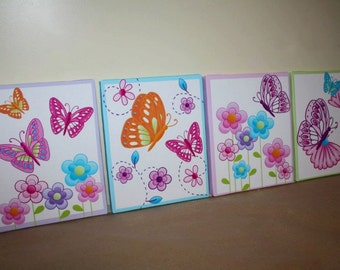 Set of 4 Delicious Butterfly Girls Bedroom Stretched Canvases Kids Playroom Baby Nursery CANVAS Bedroom Wall Art 4CS021