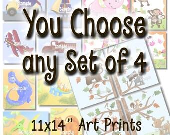 Set of 4, 11x14 Art Prints - YOU CHOOSE the DESIGN Kids Bedroom Baby Nursery Wall Art