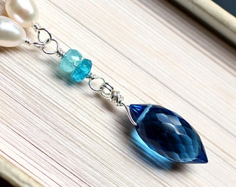 Blue Quartz Necklace with Gemstones on Sterling Silver - Nereid by CircesHouse on Etsy