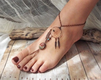Peace Catcher Australian Agate Bohemian Copper Dreamcatcher  Anklet  Hippie  Tribal  Copper  Native American Inspired