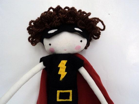 custom order for Nic superhero boy doll rag  toy