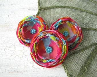 Fabric flower embellishments, flower appliques, fabric flowers, supplies for diy crafts, chiffon flowers (3 pcs) - FLOWERS of THE RAINBOW