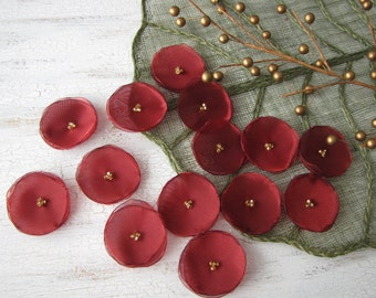 Fabric flowers, handmade sew on organza appliques, floral embellishments, fabric flowers for crafts (15pcs)- METALLIC SANGRIA BLOSSOMS