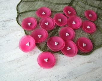 Fabric flower sew on appliques, organza flowers, fabric floral appliques, handmade flowers for crafts (10 pcs)- SHEER FUCHSIA BLOSSOMS