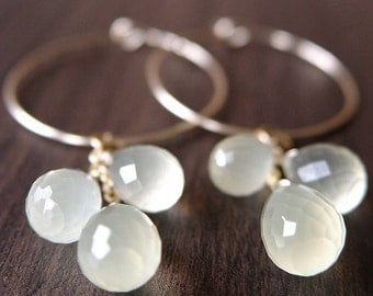 SALE Vanilla Moonstone Cluster Hoops - 14k Gold Fill Earrings