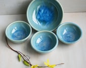 Set of Stoneware Kitchen Bowls in Blue Sea Glass Glaze, Four Handmade Prep Bowls, Blue Pottery Bowls, READY TO SHIP