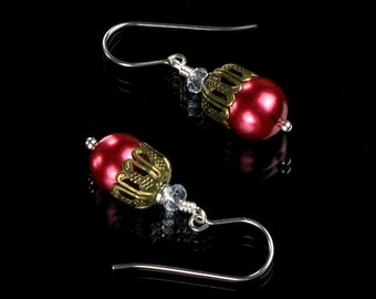 Red Pearl & Brass Dangle Earrings - Valentine's Day Pearl Jewelry, Unique Valentine's Gift for Her, Womens Gift, Girlfriend Gift, Mom Gift