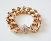 Rose Gold Pave Ball Clasp Bracelet