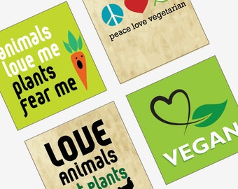 Vegetarian and Vegan - 1 (one) inch (25 mm) Pendant Image Collage - Instant Download - Digital Collage Sheet Download - Buy 2 Get 1 Free