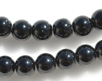 40 Black Jasper 3mm Round Beads BD782