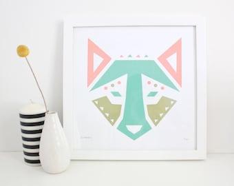 Dog Print, Screenprint, Abstract, Geometric, Wolf, Animal