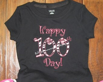 Boutique Custom Personalized Happy 100 Day of School Spirit Girls Shirt  Appliqued Embroidered