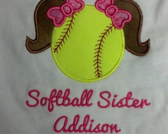 Boutique Custom Personalized Softball Sister Shirt Match Hair Sport Name Included Team School Spirit Appliqued Embroidered