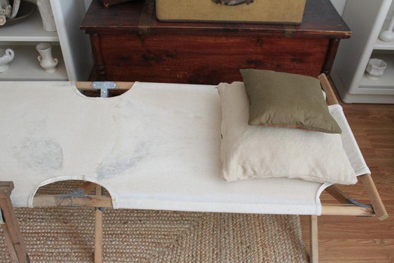 Vintage Fisherman S Canvas And Wood Cot And Stool
