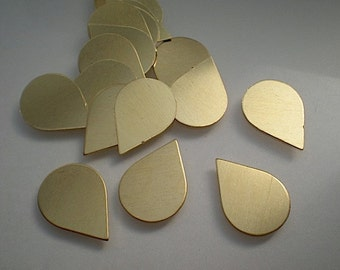 18 small flat brass teardrop stamping blanks
