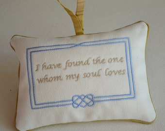 Custom Embroidered Door Knob Hanger Bridal Linen Off White with Blue Celtic Endless Knot and Tan Sentiment