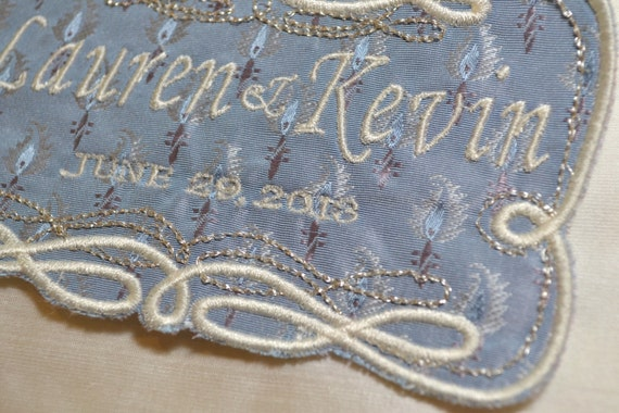 SOMETHING BLUE -  Wedding Labels for Wedding Gown or Suits-Embroidery Custom Created on Silk Fabrics