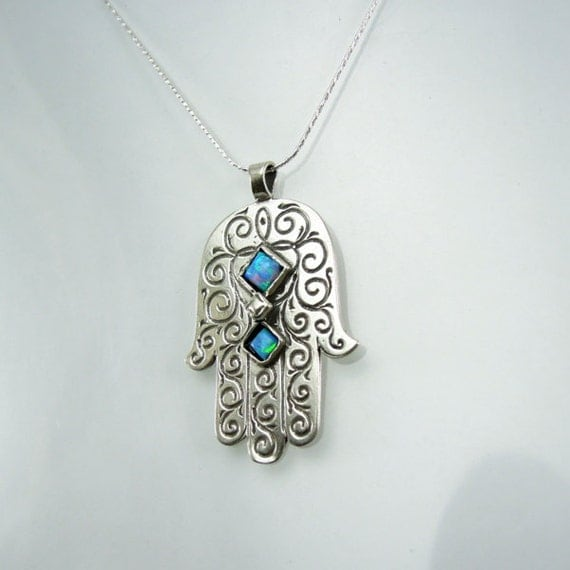 silver hamsa pendant opal design hadas1951