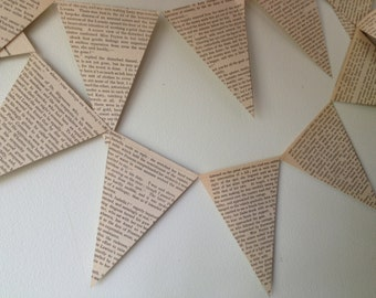 vintage 10 ft triangles custom made book paper banner garland bunting wedding graduation celebrations baby bridal shower