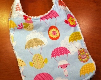 Easter Cute Critters Baby Bib - Bunnies, Lambs and Chicks Parachuting - Bright Multi Color - Cotton and Chenille