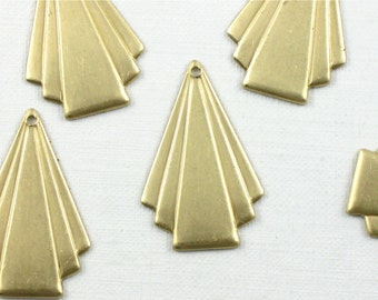 12 TRIANGLE geometric jewelry charms or earring drops 24mm x 16mm (ST9)