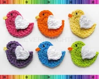 PATTERN-Crochet Bird with Heart Wing Applique-Detailed Photos